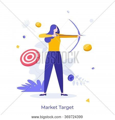 Woman Archer Holding Bow And Arrow, Aiming And Shooting. Concept Of Market Target, Business Goal Ach