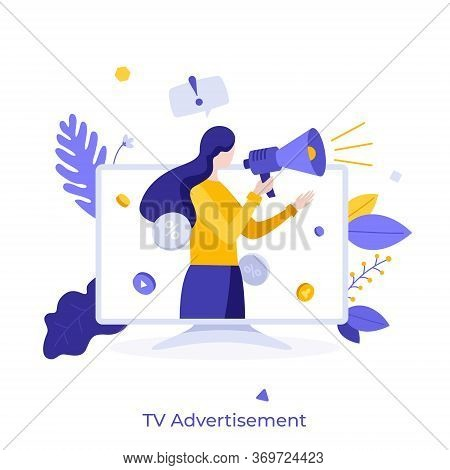 Woman With Megaphone Or Bullhorn Promoting Or Advertising Product On Television Screen. Concept Of T