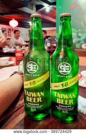 Taipei, Taiwan - January 05, 2020: Chilled Taiwan Draft Beer Served Over Social Gathering