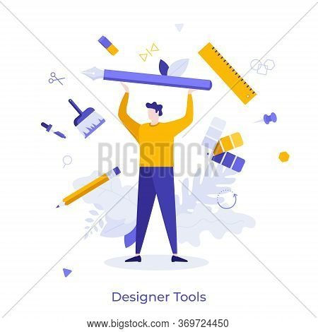 Man Surrounded By Pen, Pencil, Brush, Ruler And Other Art Supplies. Concept Of Designer Tools, Creat