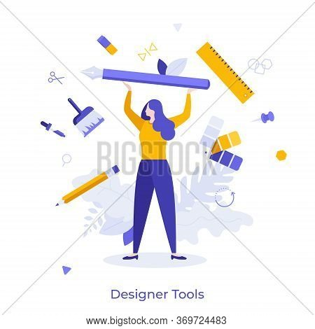 Woman Surrounded By Pen, Pencil, Brush, Ruler And Other Art Supplies. Concept Of Designer Tools, Cre