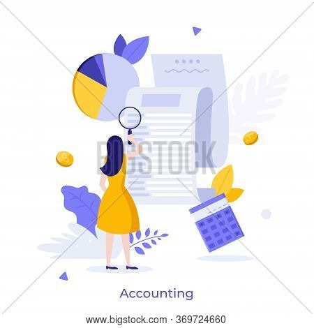 Woman Looking Through Magnifying Glass At Bill, Check Or Invoice. Concept Of Accounting And Auditing