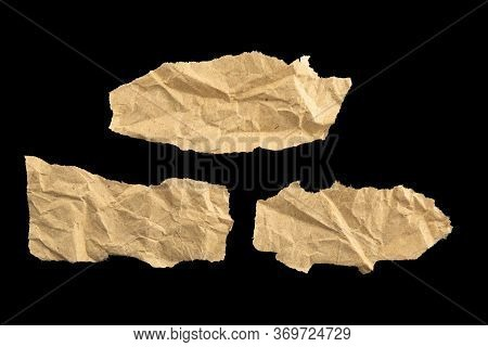 Three Pieces Of Recycled Paper For Text Isolated On Black Background
