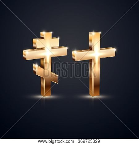 Holy Orthodox And Catholic Crosses.golden Glowing Symbols Of Faith.christian Design Elements 3d.vect