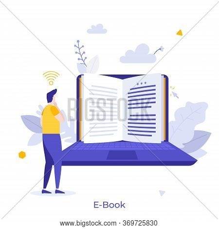 Man Standing In Front Of Laptop Computer And Reading Digital Book On Screen Or Display. Concept Of E