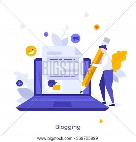 Blogger Or Author Standing Near Laptop Computer, Holding Giant Pencil And Writing New Post For Socia