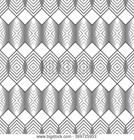 Seamless Pattern. Infinitely Repeating Modern Geometrical Texture Consisting Of Hexagons, Rhombuses,