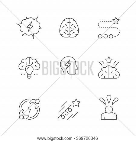 Set Line Icons Of Brainstorming Isolated On White. Brain, Creative Idea, Thinking, Human Mind, Innov