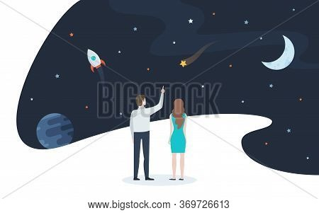 Pair Of Man And Woman Looking At Stars, Planets And Other Celestial Objects. Concept Of Space And Un