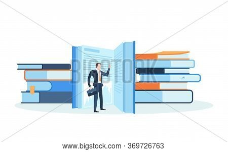 Male Office Worker Dressed In Smart Suit Or Businessman Standing Behind Stacks Of Giant Books. Conce