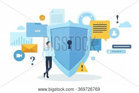 Man Stands Leaning On Giant Shield With Keyhole Against Various Data Symbols On Background. Concept