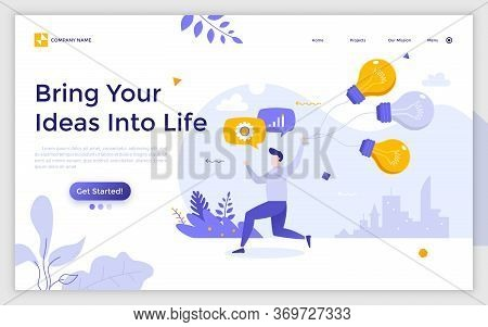 Landing Page With Man Or Clerk Holding Bunch Of Light Bulbs Or Balloons. Creativity, Creative Or Inn