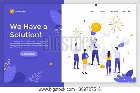 Landing Page With Boss Or Leader With Giant Light Bulb Above His Head And Group Of Office Workers Su