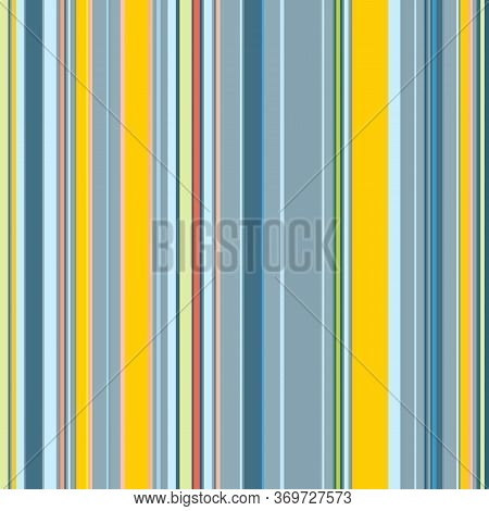 Seamless Pattern Of Parallel Vertical Stripes, Shades Of Blue-gray, Yellow. Great For Decorating Fab