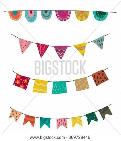 Vector Set Of Colorful Graphic Bunting And Garland With Hand Drawn Texture