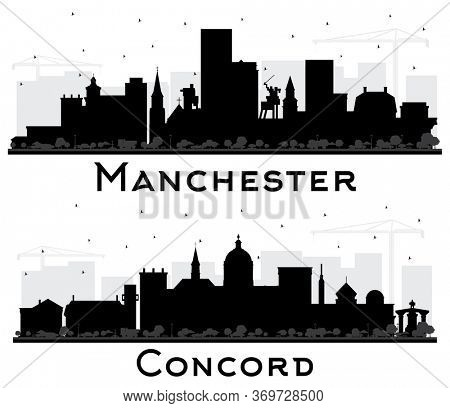 Concord and Manchester New Hampshire City Skyline Silhouettes Set with Black Buildings Isolated on White. Business Travel and Tourism Concept with Historic and Modern Architecture.