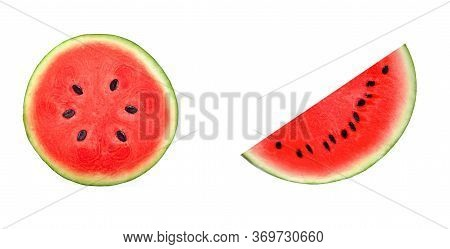 A Half Of Fresh Watermelon Isolated On White Background.red Fruit  High  Beta Carotene