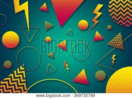 A Green, Yellow And Orange Retro Vaporwave 90's Style Random Geometric Shapes With Vibrant Neon Colo