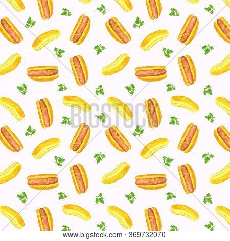 Watercolor Illustration Of Hot Dog Wiener In Pastry Bun With Ketchup Or Mustard Pattern Set Isolated