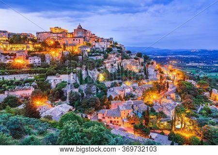 Gordes, France. Luberon Valley And Beautiful View Idyllic Hilltop Village In Provence, Luberon, Vauc