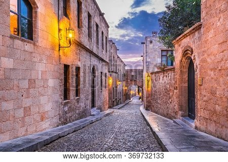 Rhodes, Greece. Avenue Of The Knights (ippoton), Medieval Place To The Knights Hospitaller Who Ruled