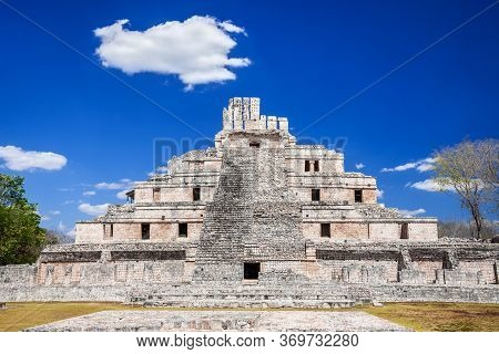 Campeche - Yucatan, Mexico.  Edzna Mayan Ruins. Pyramid Of The Five Floors, Precolumbian City.
