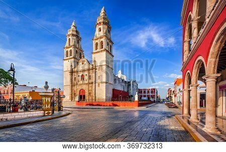 Campeche, Mexico. Independence Plaza In Old Town Of San Francisco De Campeche, Yucatan Heritage.