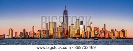 New York. Stunning View Of Lower Manhattan Skyline From New Jersey, United States Of America.