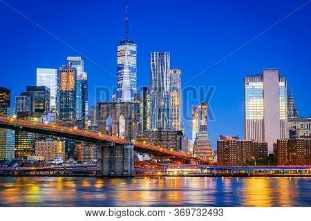 New York, United States Of America. Brooklyn Bridge At Dusk Viewed From The Brooklyn Bridge Park In