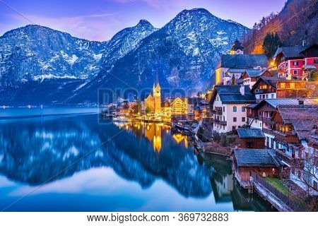 Hallstatt, Austria - Scenic Picture, Postcard View Of Famous Hallstatt, Unesco Mountain Village In U