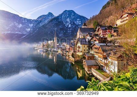 Hallstatt, Austria - Scenic Picture, Postcard View Of Famous Hallstatt, Unesco Mountain Village In U