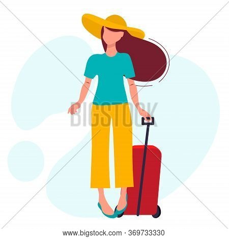 A Young Girl In A Wide-brimmed Hat And Trousers Travels. Goes On Vacation With Suitcases.