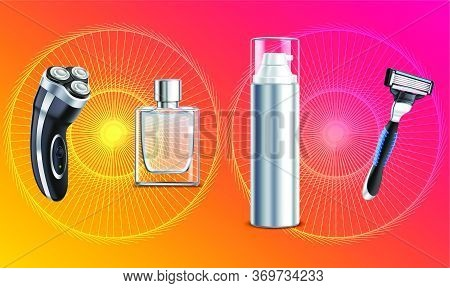 Mock Up Illustration Of Male Grooming Kit On Abstract Background