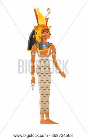 Mut Ancient Egyptian Daity. Mother Goddess Worshipped In Ancient Egypt. Wearing Double Crown Plus Ro