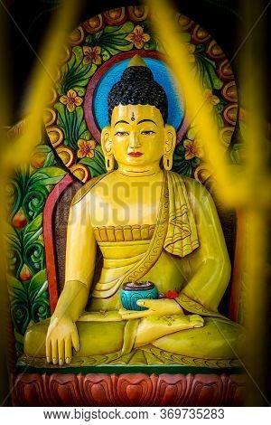 Closeup Of Buddha Statue In Kathmandu, Nepal.buddha Statue. Buddhism, Compassionate