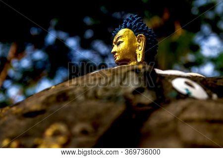 Closeup Of Buddha Statue In Kathmandu, Nepal.buddha Statue. Buddhism, Compassionate.selective Focus