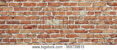 Grunge Brick Wall Horizontal Background. Vintage Brickwork Backdrop Or Pattern Of Old Brick Wall. Gr