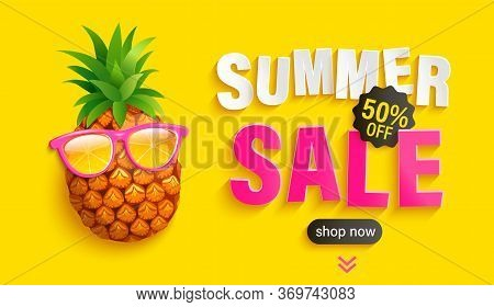 Bright Sale Banner For Summer 2020. Hipster Pineapple In Sunglasses Invites To Big Discounts In Hot