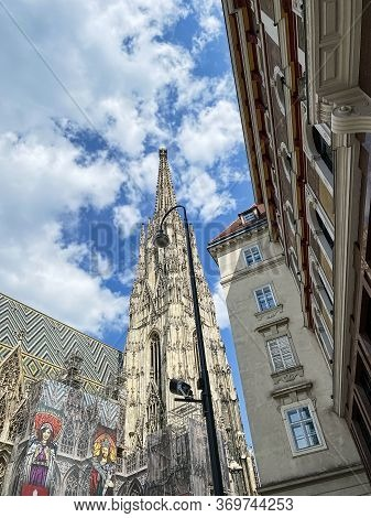 Vienna, Austria - June 3, 2020: St. Stephens Cathedral Is A Historic Building And Famous Place In Ce
