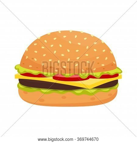 Cheeseburger With Meat, Lettuce, And Tomato, Cartoon Fast Food, Tasty Big Cheeseburger With Cheese A