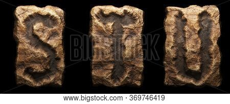 Set of rocky letters S, T, U. Font of stone on black background. 3d rendering