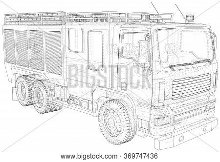 Fire Engine Vector. Fire Truck Wire-frame Line Isolated. Vector Rendering Of 3d