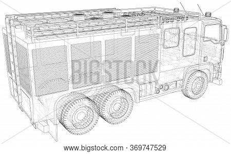 Vector Wire-frame Fire Truck. The Layers Of Visible And Invisible Lines Are Separated. Eps10 Format.