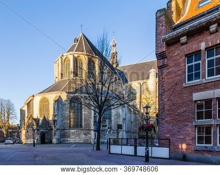 Big Saint-laurens Church In The Historic City Centre Of Alkmaar In North-holland In The Netherlands.
