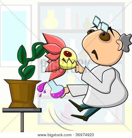Scientist And Aggressive Mutant Plant