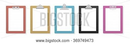 Empty Clipboard With Blank White Paper Sheet For Mockup. Clipboard And Paper Sheet Page. Notepad Inf