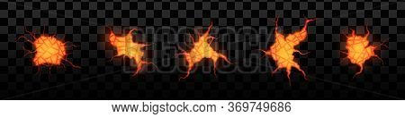 Set Of Volcanic Crack With Lava Isolated On A Transparent Background, Glowing Crevices. Abstract Bac