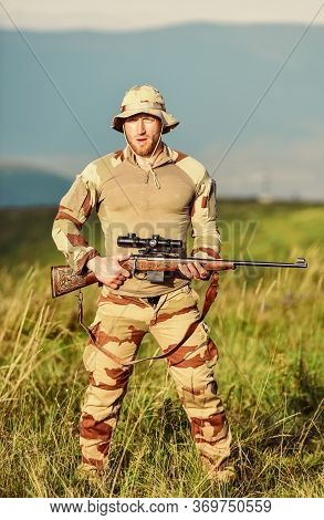 Hobby For Real Men. Man With Gun. Military Male Fashion. War Time. Soldier In Service. Weapon Shop C