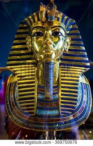 Egypt, Cairo, December, 2016 -  Golden Ancient Egyptian Pharaoh Statuette At The Alexandria National