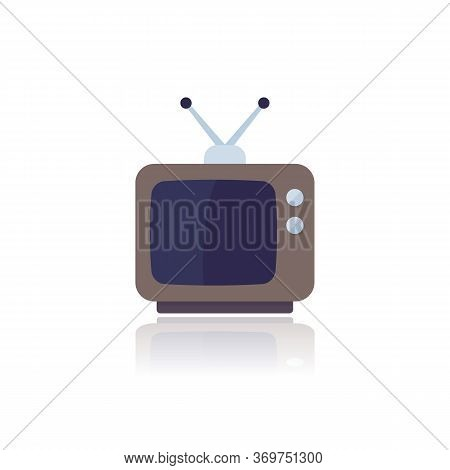 Tv With Antenna, Old Television, Vector Flat Icon On White, Eps 10 File, Easy To Edit